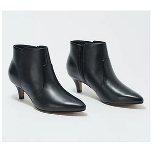 Clarks Linvale Judith Leather Booties 6.5 WIDE